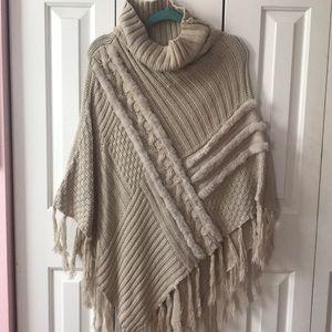 Sweaters - Cream Soft Sweater Poncho